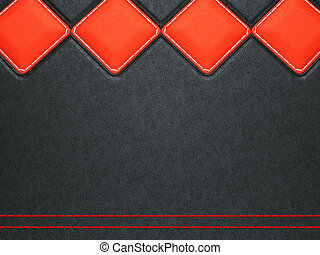 Leather background with red stitch and rhombuses (large...