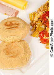 Arepa breakfast - Freshly baked arepas amidst a hearty...