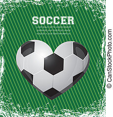 illustration of soccer heart on a background of gray lines,...
