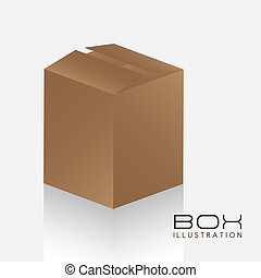 brown box - illustration of brown box on white background,...