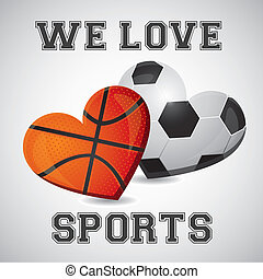 basketball and soccer heart - illustration of basketball and...