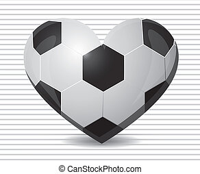 illustration of soccer heart on a background of green lines,...