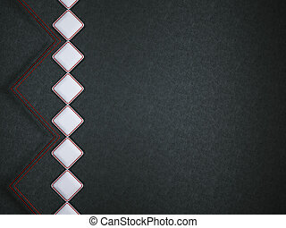 Leather background with red stitch and white rhombuses