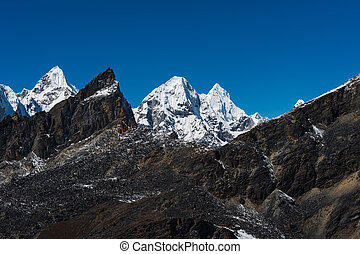 Mountain peaks viewed from Renjo pass in Himalaya