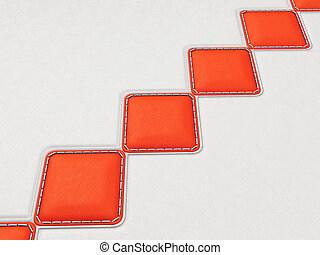 Leather background with red stitched rhombuses