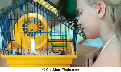 Child and hamster in a cage