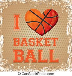 basketball heart - illustration of basketball heart on a...