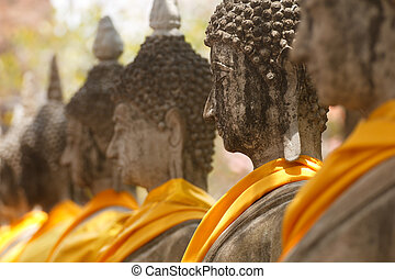 View of buddha statue in Thailand - Statues of Buddha in a...