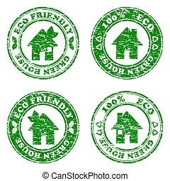 vector illustration of a set of green eco friendly house...