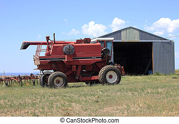 Farm machinery and shed - Farm machinery and metal shed in...