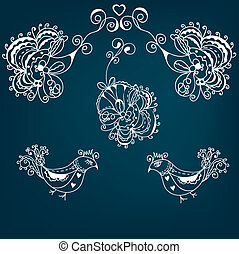 Abstract greeting floral background with bird