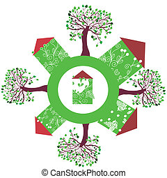 Eco houses and trees on the earth symbol
