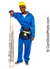 Smiling african worker resting hand on stepladder - Full...