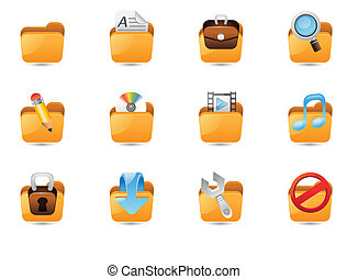Folder Icon Set - Illustration Of Folder Icon Set For Web...