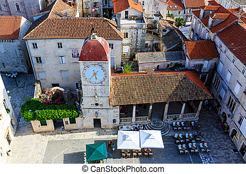 Aerial View on the Main Square of Trogir from Cathedral of...