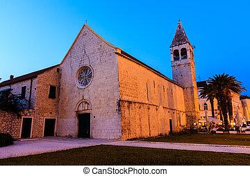 Illuminated Church of Saint Dominic in Trogir at Night, Croatia