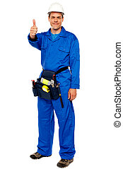 Worker with tools bag showing thumbs up standing against...