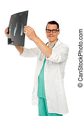 Medical specialist examining patients x-ray