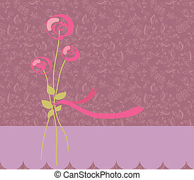 Greeting romantic  card with roses and pattern