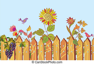 Fence and flowers cartoon border in summer with bird