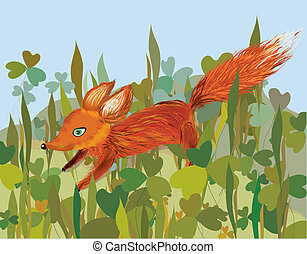 Fox in the grass funny cartoon