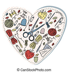Sewing and knitting heart funny cartoon