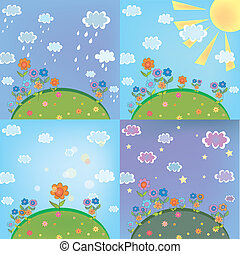 Print - Landscape weather card set with nature elements