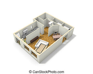 3D floor plan - 3D floor plan of the house with kitchen,...