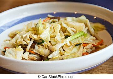 Stir-fried vegetables.
