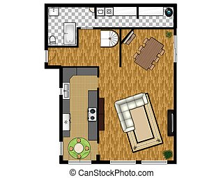 2D floor plan of the first level - 2D floor plan of the...