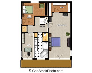 2D floor plan of the house second level - 2D floor plan with...