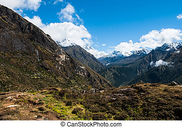 Lhotse and Ama Dablam peaks: Himalaya landscape. Hiking in...