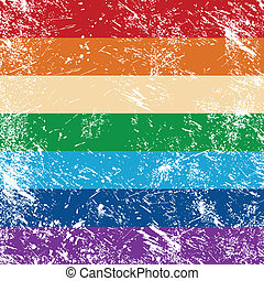 Gay rights retro flag - Gay pride flag with rainbow -...