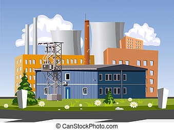 Electrical generating plant, vector illustration - Factory,...