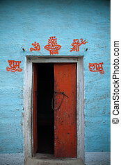 Open door indian village - Open door in indian village with...