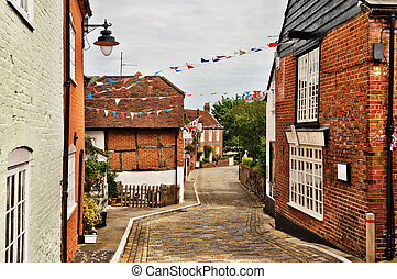 Quaint village of Hamble-le-Rice - Narrow paved street...