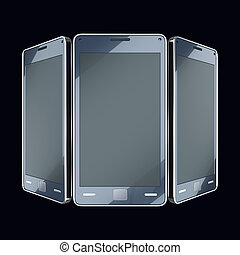 Communication and mobility: smart phones with touch screens on black (custom made and rendered)