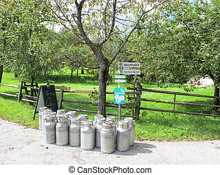 milk-cans side of the road