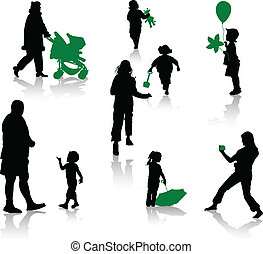 The isolated silhouettes of parents