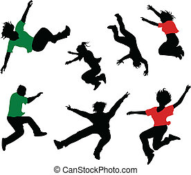 Silhouettes of seven jumping