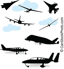 Various planes - Collection of silhouettes of various planes
