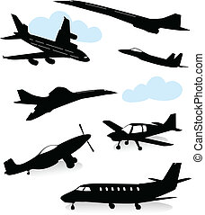 Collection of various planes - Collection of silhouettes of...