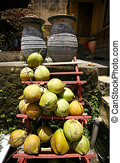 Cocoes on a counter Bali Indonesia