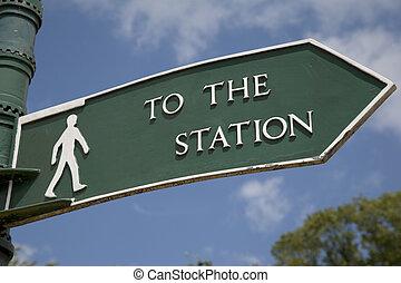 青, 空, に対して, 印, 駅, 緑, 背景