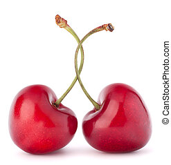 Two heart shaped cherry berries isolated on white background...