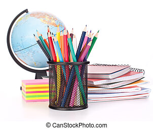 Globe, notebook stack and pencils. Schoolchild and student...