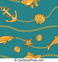 gold nautical pattern - seamless vector sea pattern with...
