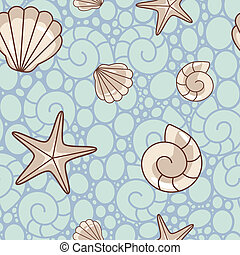 shell pattern - seamless vector sea pattern with shells and...