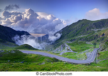 mountain road with clouds, Romanian Carpathians,...