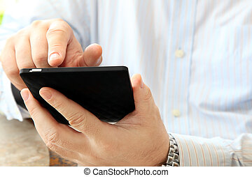 Man Using Smartphone - Close up of Man Calling by Phone